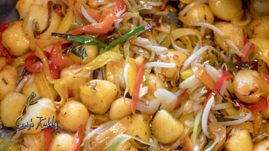 Luie wijven Wok met garnalen:)